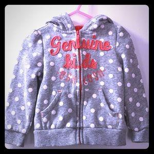 Genuine Kids Oshkosh zip up gray hoodie size 2T
